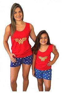 Pijama Short Doll Mulher Maravilha -  Coleção Mãe e Filha