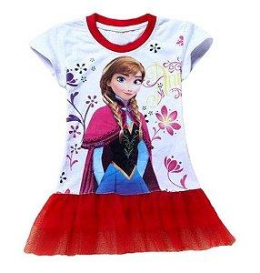Vestido Bebê da Anna - Frozen - Tule Vermelho