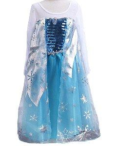 Fantasia de Luxo da Elsa com Paetê e Capa Prateada (Frozen)