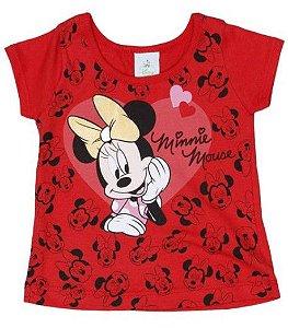 Blusa Baby  da Minnie - Vermelha e Preta - Brandili