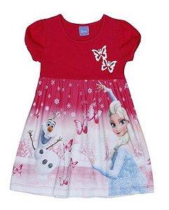 Vestido Frozen - Borboletas Pink e Branco - Brandili