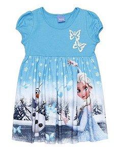 Vestido Frozen - Borboletas - Azul e Prateado - Brandili