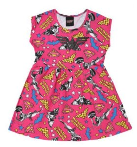 Vestido Mulher Maravilha - Pink e Amarelo - Brandili