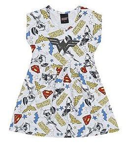 Vestido Infantil Mulher Maravilha - Cinza e Amarelo - Brandili