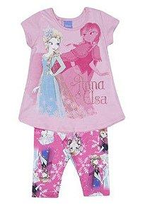 Conjunto de Blusa Anna e Elsa + Legging - Rosa - Brandili