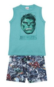 Conjunto de Regata Hulk (Avengers) - Bermuda - Verde - Brandili