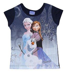 Blusa Anna, Elsa e Olaf (Frozen) - Azul Marinho - Brandili