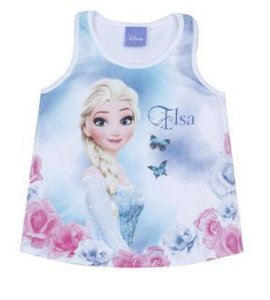 Blusa Elsa - Frozen - Azul - Brandili