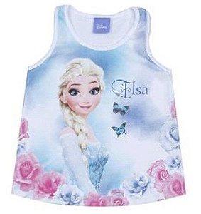Blusa Regata Bebê Frozen Elsa Azul - Brandili