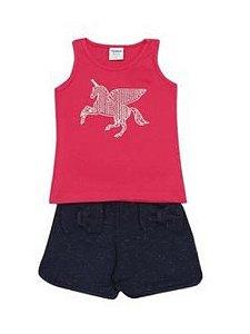 Conjunto de Blusa Unicórnio e Short com Laços - Pink e Azul Marinho