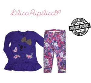 Conjunto de Blusa e Legging - Lilica Riplica Baby - Azul e Rosa