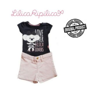 Conjunto de Blusa e Short - Lilica Ripilica Baby - Preto e Rosa