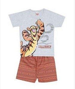 Conjunto de Camiseta e Bermuda do Tigrão - Cinza e Laranja - Brandili