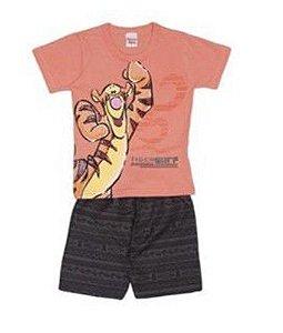 Conjunto de Camiseta e Bermuda do Tigrão - Laranja e Preto - Brandili