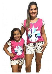 Pijama (Short Doll) de Unicórnio - Tal Mãe Tal Filha