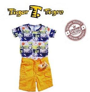 Conjunto de Camiseta e Bermuda - Tigor Baby - Amarelo e Azul