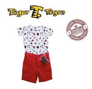 Conjunto de Camiseta e Bermuda - Tigor Baby - Branco e Vermelho