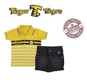 Conjunto Camisa Polo e Short - Tigor Baby - Amarelo e Preto