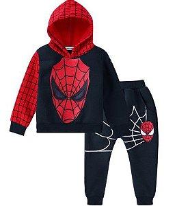 Conjunto de Blusa Moleton e Calça do Homem Aranha - Preto e Vermelho