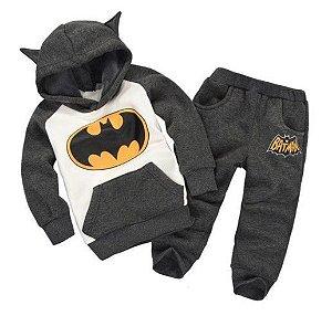 Conjunto de Blusa Moleton e Calça do Batman - Cinza