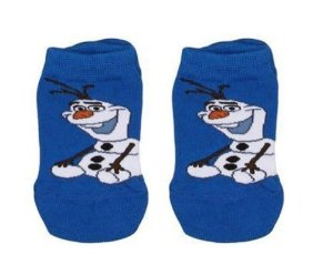Meia Antiderrapante Olaf - Frozen - Lupo - Azul e Branca