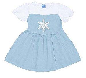 Camisola Elsa Frozen com Tule - Azul Claro e Branco - Lupo