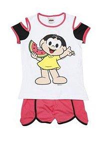 Pijama Short Doll Magali - Branco e Rosa - Infantil