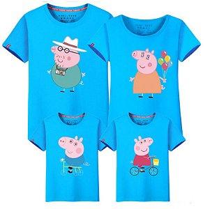 Camiseta Peppa - Família (Pai, Mãe, Filha, Filho) - Azul