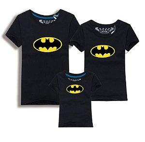Camiseta Batman Família - Pai, Mãe, Filho - Preta