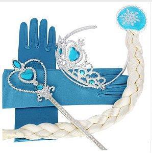 Kit Rainha Elsa - Luvas, Coroa, Trança e Varinha Mágica