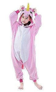 Pijama (macacão) Soft Unicórnio - Branco e Rosa Claro