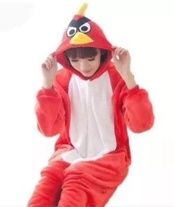 Pijama (macacão) Soft Angry Birds- Vermelho e Branco