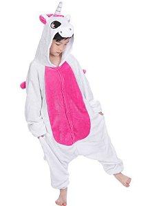 Pijama (macacão) Soft Unicórnio - Branco e Rosa