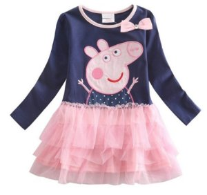 Vestido Infantil Peppa Pig Bordado - Tule Rosa