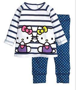 Pijama da Hello Kity - Branco e Azul
