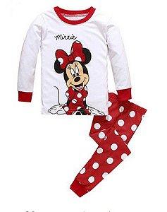 Pijama da Minnie (Disney) - Branco e Vermelho com Bolinhas