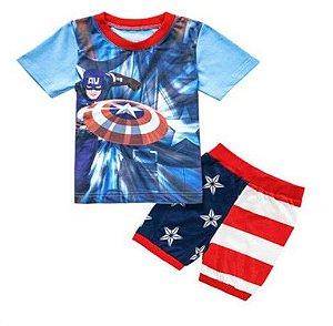 Pijama do Capitão América - Vermelho Listrado