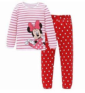 Pijama da Minnie (Disney) - Listrado Branco e Vermelho