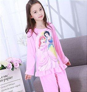 Pijama das Princesas Ariel e Branca de Neve - Rosa