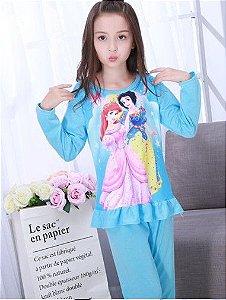 Pijama das Princesas Ariel e Branca de Neve - Azul