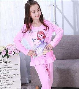 Pijama da Princesa Sofia e Passarinhos - Rosa