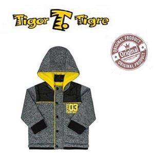 Jaqueta Forrada Tigor T Tigre - Manga Removível - Cinza e Amarela