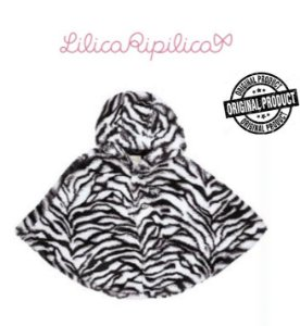 Poncho com Capuz Lilica Ripilica Baby - Preto e Branco