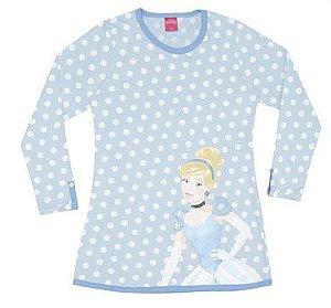 Camisola Cinderela - Disney Princess -  Azul e Branca - Lupo