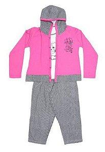 Pijama Gatinho com Laço - Pink e Branco - Lupo (3 peças)