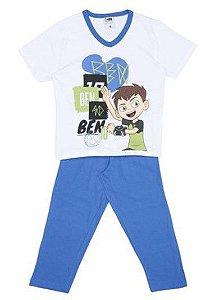 Pijama do Ben 10 - Manga Curta e Calça Comprida - Azul - Lupo