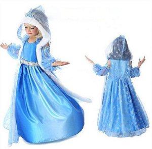 Fantasia Super Luxo da Elsa com Capa e Capuz (Modelo Exclusivo Frozen)