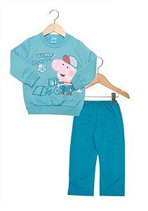 Conjunto de Blusa e Calça de Moleton do George - Peppa Pig - Azul - Malwee