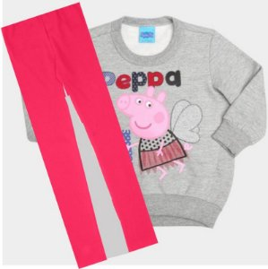 Conjunto de Blusa de Moleton e Legging da Peppa Pig - Cinza e Coral