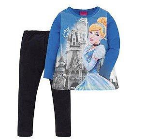 Conjunto de Blusa e Legging da Cinderela (Disney Princess) - Azul e Preto - Brandili